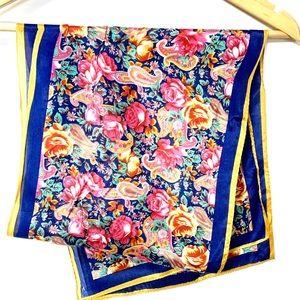 vintage silk floral print long scarf #39E